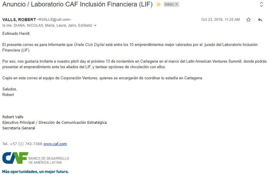 Anuncio CAF uneteclub